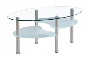 klubska mizica steklo ovalna